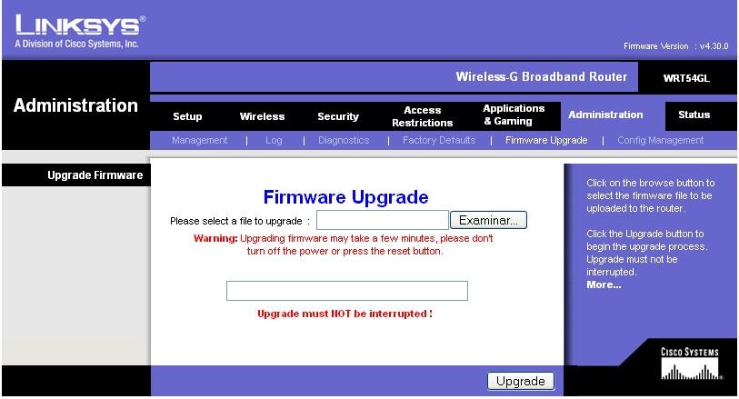 Wrt54g firmware upgrade.