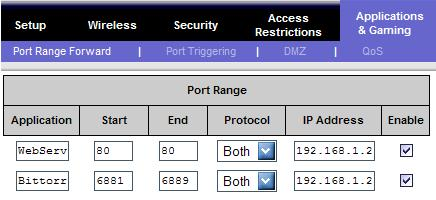 Image Showing Portforwarding for a web server and a bittorrent client with a local IP address of 192.168.1.2