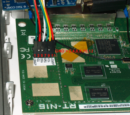 This shows the main board for the Asus RT N16 along with the location for the JTAG headers.