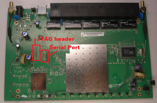 This shows the main board for the DIR-632 along with the location for the SERIAL and JTAG headers.